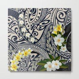 Traditional Hawaiian Tapa and Plumeria Metal Print