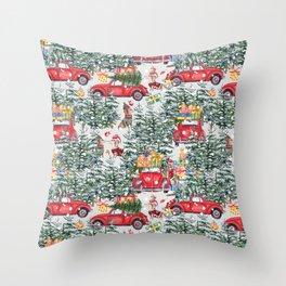 Dachshund decorates the christmas tree Throw Pillow