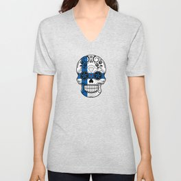 Sugar Skull with Roses and Flag of Finland Unisex V-Neck