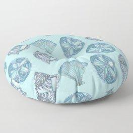 Watercolor Seashells Aqua Background  Floor Pillow