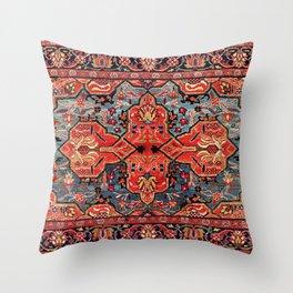 Kashan Poshti Central Persian Rug Print Throw Pillow