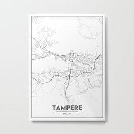 Minimal City Maps - Map Of Tampere, Finland. Metal Print