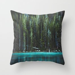 Nature Photo - Turquoise Blue Lake and Tall Pines Throw Pillow