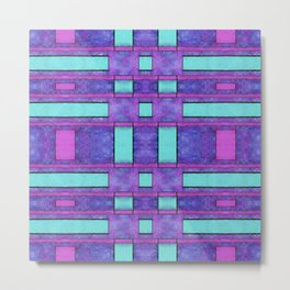 Painted cyan and magenta parallel bars Metal Print