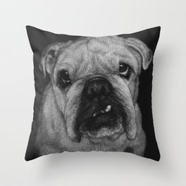 Hugo a bulldog Throw Pillow