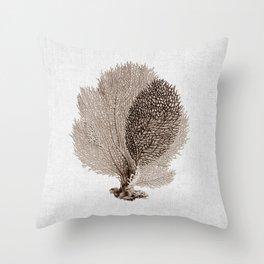 Brown Sea Fan Coral Illustration Nautical Decor Throw Pillow