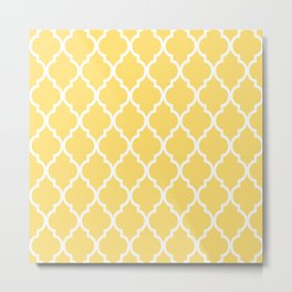 Classic Quatrefoil Lattice Pattern 731 Yellow Metal Print