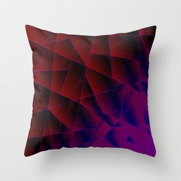 Abstract strict pattern of burgundy and overlapping purple triangles and irregularly shaped lines. Throw Pillow