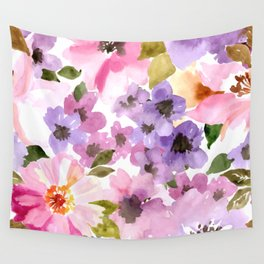 Pink Purple Watercolor Flowers Wall Tapestry