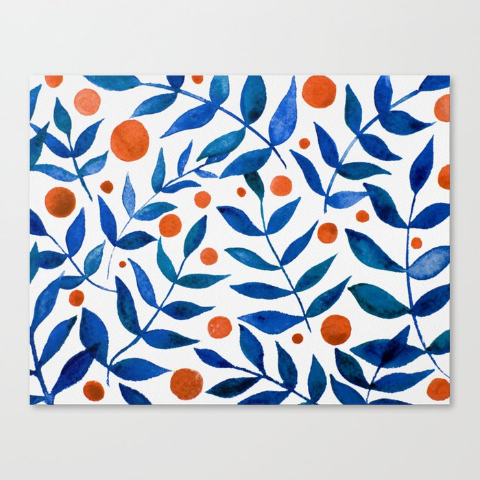 Watercolor berries and branches - blue and orange Leinwanddruck