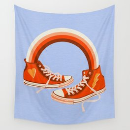 Red Sneakers and Rainbow Wall Tapestry