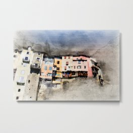 French suspended village of Pont en Royans on cliff Metal Print