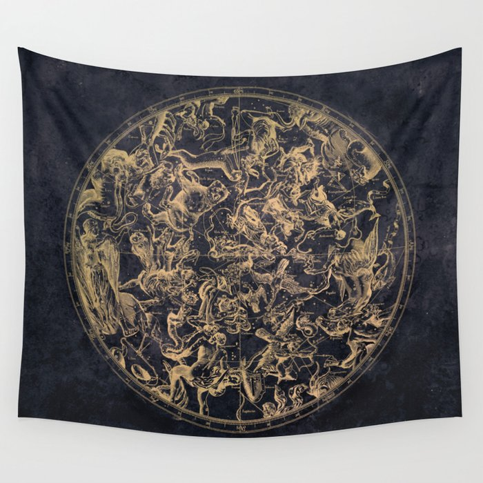 Vintage Constellations & Astrological Signs | Yellowed Ink & Cosmic Colour Wandbehang