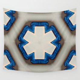Blue Plastic Texture Six Sided Flat Point Star Wall Tapestry