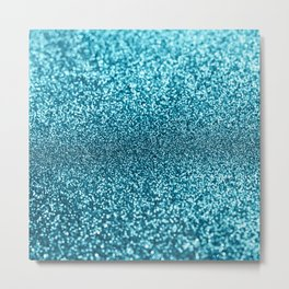Modern teal turquoise navy blue glam glitter bokech Metal Print
