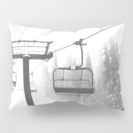 Chairlift Abyss // Black and White Chair Lift Ride to the Top Colorado Mountain Artwork Pillow Sham