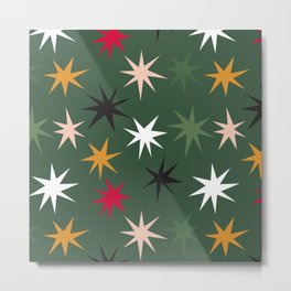 Colourful Sparkles - Dark Green Metal Print