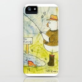 Fishing Chicken iPhone Case