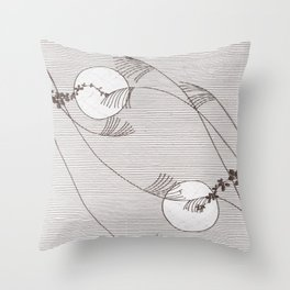 Two Moons Stencil,19th century Japan Throw Pillow