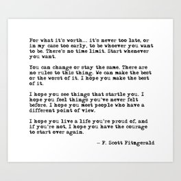 For what it's worth - F Scott Fitzgerald quote Kunstdrucke