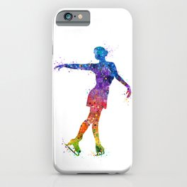 Ice Skating Girl 3 Colorful Watercolor Artwork iPhone Case