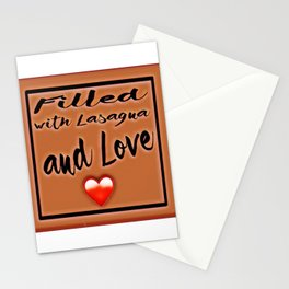 Fiĺled with Lasagna and Love Heart Stationery Cards