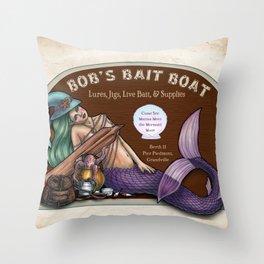 Bob's Bait Boat by Bobbie Berendson W Throw Pillow
