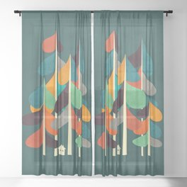 Cabin in the woods Sheer Curtain