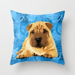 Shar-Pei puppy Throw Pillow