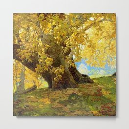 Sycamore in Autumn, Orange County Park Landscape by Edgar Alwin Payne Metal Print