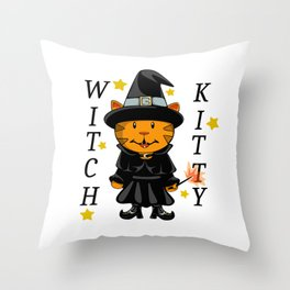 Witch Kitty Throw Pillow