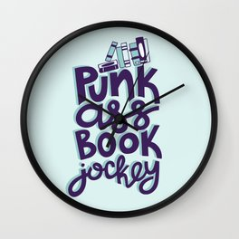 Punk Book Jockey Librarian Quote Wall Clock