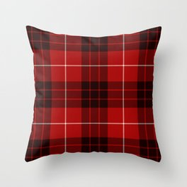 Dark Red Tartan with Black and White Stripes Throw Pillow
