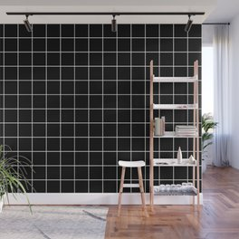 Grid Pattern Line Stripe Black and White Minimalist Geometric Stripes Lines Wall Mural