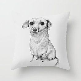 Monochrome Dachshund Throw Pillow