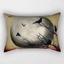 Rustic Black Bird Raven Crow Tree Dark Side of the Moon Gothic Art A169 Rectangular Pillow