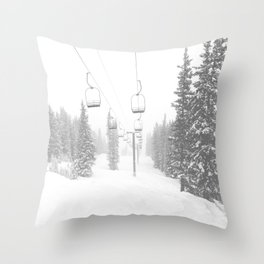 Empty Chairlift // Alone on the Mountain at Copper Whiteout Conditions Foggy Snowfall Throw Pillow