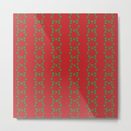 Christmas vector green circle dots aligned on red background Metal Print
