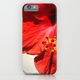 Avant-Garde Red Hibiscus Flower Close-Up Art Photo iPhone Case