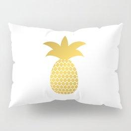 Gold silhouette of pineapple. Golden foil tropical fruit. Pillow Sham