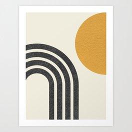 Mid century modern Sun & Rainbow Art Print