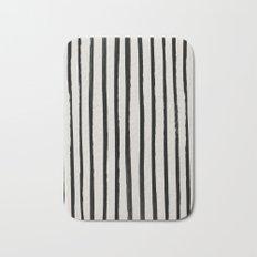 Vertical Black and White Watercolor Stripes Bath Mat