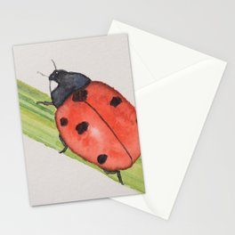 Ladybird on a blade of grass Stationery Cards