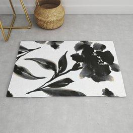 Elegant Ink Floral Rug