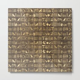 Brown & Gold Ancient Egyptian Hieroglyphic Script Metal Print