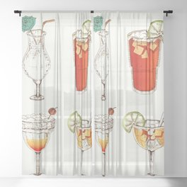 Cocktails Sheer Curtain