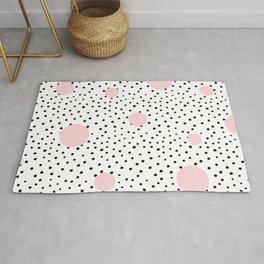 Pink And Black Modern Polka Dot Pattern Rug