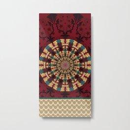 Mandala in red grená Metal Print