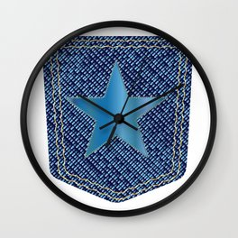 Star Denim Pocket Wall Clock