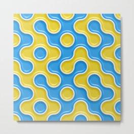 Yellow Blue Truchet Tilling Pattern Metal Print